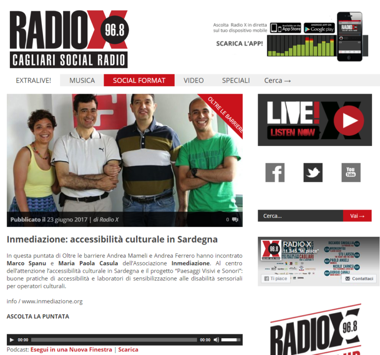 Home page http://www.radiox.it/archive/programmisocial/oltrelebarriere/
